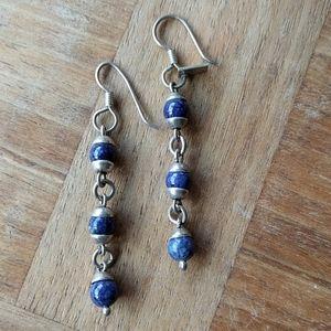 Lapis lazuli in sterling silver dangle earrings